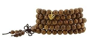 Tibetan Zen Elastic 8mm Dark Grain Wood 108 Prayer Beads Yoga Meditation Necklace Wrap Bracelet Mala with Removable Charms (Bodhi Tree Leaf)