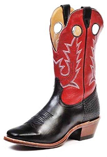 Bottes américaines - santiags: bottes de cowboy BO-8169-64-E (pied normal) - Homme - Marron-rouge/Noir