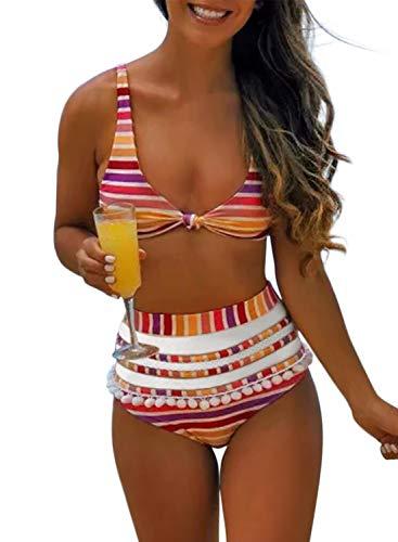 Aleumdr Womens High Waist Two Pieces Bikini Set Padded Stripe Tassel Swimsuit Blue Medium 8 10