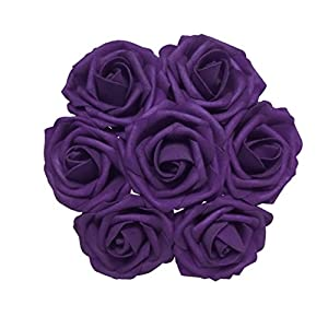 J-Rijzen Jing-Rise Artificial Flowers 30pcs Real Looking Dark Purple Fake Roses with Stem for Wedding Bouquet Bridal Shower Birthday Party Home Decorations (Purple) 53