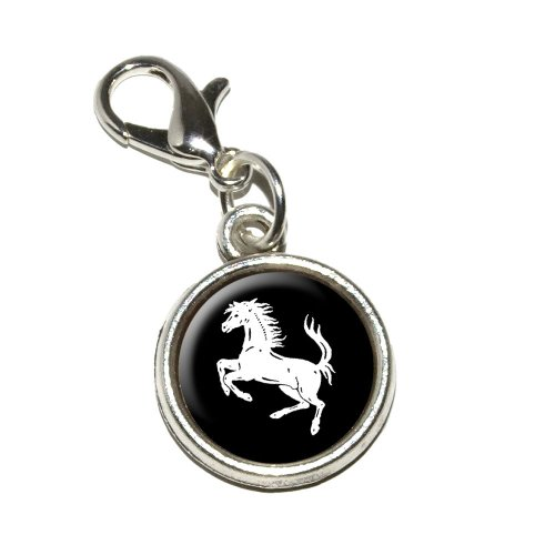 Graphics and More Horse Rearing Up on Black Antiqued Bracelet Pendant Zipper (Horse Clasp)