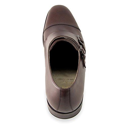 Masaltos Scarpe con Rialzo per Uomo Che Aumentano l'Altezza Fino a 7 cm. Fabbricate in Pelle. Modello Bristol Marrone
