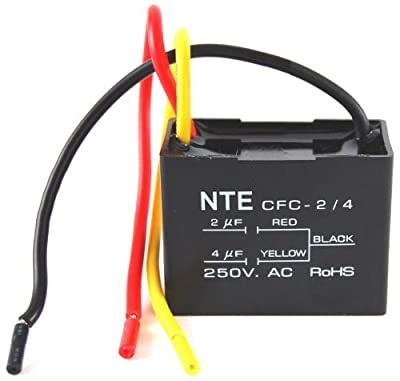 NTE Electronics CFC-2/4 Series CFC Polyester Ceiling Fan Capacitor, 3 Wire, 125/250 VAC, 2.0/4.0 ?f Capacitance