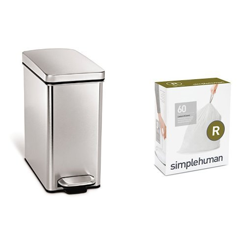 Profile Step - simplehuman 10 litre profile step can fingerprint-proof brushed stainless steel + code R 60 pack liners