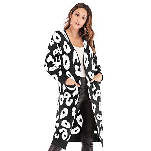 (Carprinass Women's Chic Colorful Boho Coats Kimono Cardigan Long Outwear Black L)