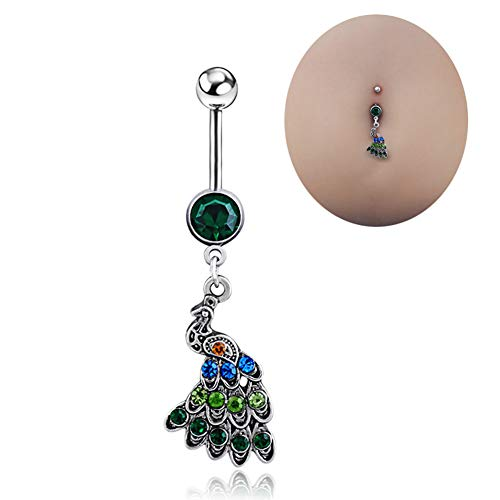 el Rings With Peacock Multicolor Rhinestone Belly Bar Body Piercing Jewelry ()