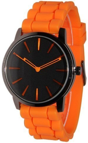 Tzou New Orange w/ Black Silicone Jelly Watch - Orange Womens Watch