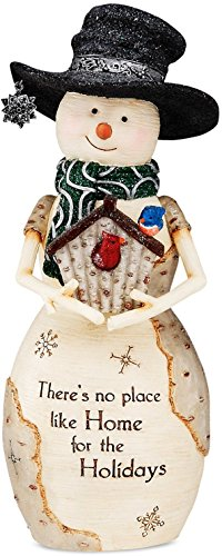 Birchhearts by Pavilion The Snowman Figurine Holding Birdhouse, 7-1 2-Inch
