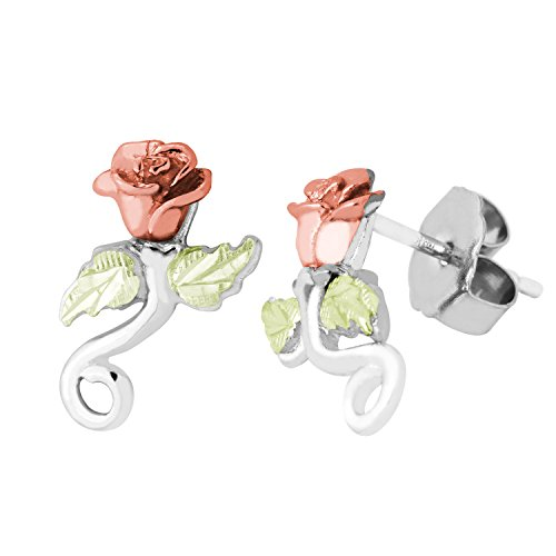 Diamond-Cut Rose Flower Earrings, Sterling Silver, 12k Green and Rose Gold Black Hills Gold Motif