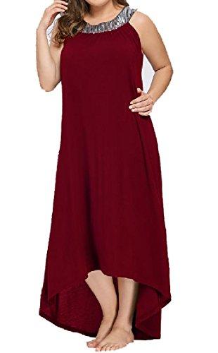 Big Sexy Coolred Women Evening Red Sleeveless Sequins Dress Oversize Pendulum Pure qCcpAwU
