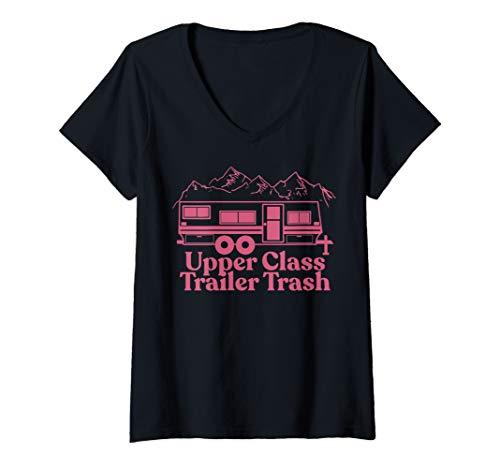 Womens Funny Camper Motor home Upper Class Trailer Trash V-Neck T-Shirt