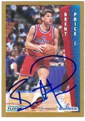 Brent Price autographed Basketball Card (Washington Bullets) 1992 Fleer #442 - Autographed Basketball -
