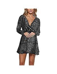 Katesis Women Chiffon Leopard Dress V Neck Long Sleeve Mini Skirt Cocktail
