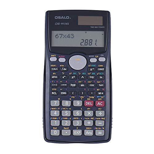 401 Math Scientific Calculator, Solar and Battery Electronics Dual Power School Business Engineering 10+2 Digit Double Lines LCD Display Function Student Test Portable Calculator