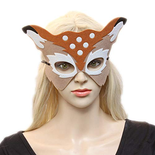 Party Masks - Party Masquerade Halloween Costumes Decor Evil Fancy Dress Prom Cute Half Deer Face Mask Kids Adults - Sick Size Face Girl Girls Boys Kids Mask Sleep Masquerade Winter