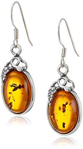 Amber Sterling Silver Classic Pretty Grape Leaves Oval -