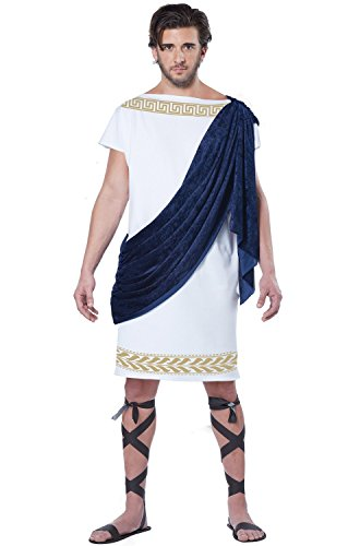 California Costumes Men's Grecian Toga, White/Navy, Large ()