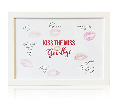 MYPRINTS Kiss The Miss Goodbye Framed Hen Party Keepsake Gift for the Bride to be