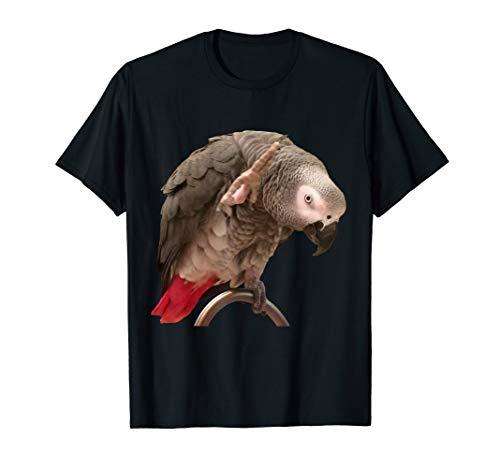 Funny Einstein African Grey Parrot Waving T-shirt (Shop Popular Pet)