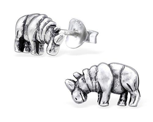 Best Wing Jewelry .925 Sterling Silver ''Rhino/ Rhinoceros'' Stud Earrings by Best Wing Earrings