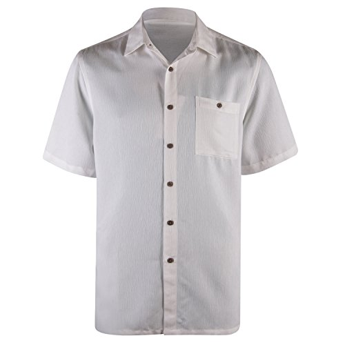(Campia Mens Textured Solid Crepe Weave Short Sleeve Shirt White (Natural, L))