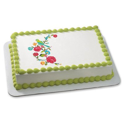 Bird on a blooming branch Edible Icing Image for 6 inch Round Cake