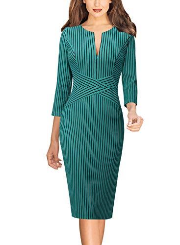 - VFSHOW Womens Slim Zipper up Work Business Office Party Sheath Dress 1886 GRN 3XL