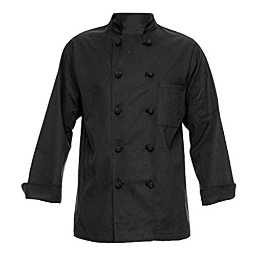 (TOPTIE Unisex Long Sleeve Button Chef Coat-Black Knot Button-M)