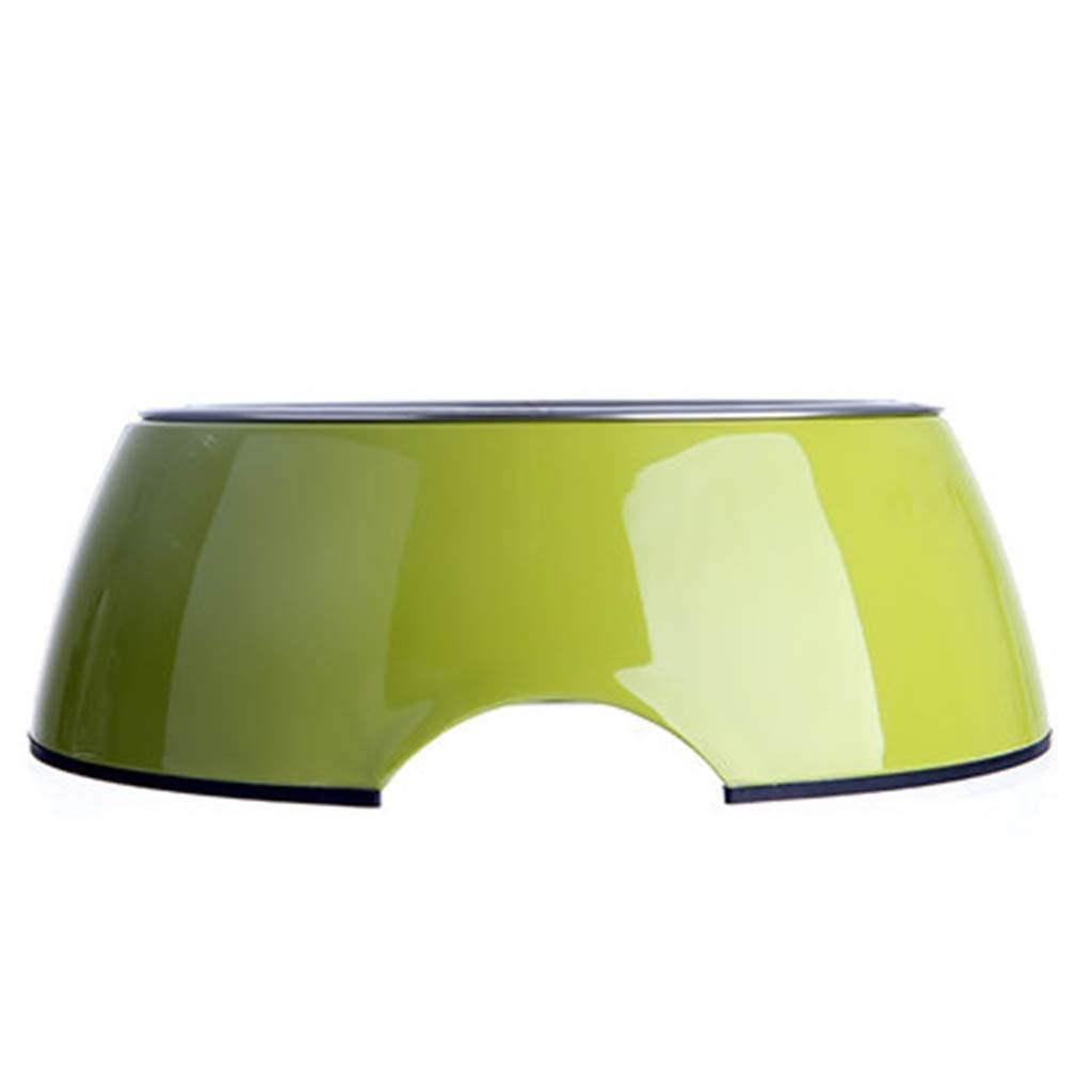 Green ZHBWJSH Dog Bowl Stainless Steel Cat Food Bowl Pet Supplies Single Bowl Dog Food Bowl (Green bluee) (color   Green)