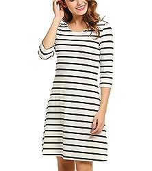 Se Miu Womens 3 4 Sleeve Striped T Shirt Dress Casual Swing Tunic Dress
