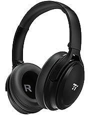 TaoTronics Noise Cancelling Kopfhörer Bluetooth Kopfhörer Over Ear mit aktiver Rauschunterdrückung 25 Std. Laufzeit, TT-BH22 eingebautes Mikro CVC 6.0, duale 40 mm Tieftontöner, Faltbare Ohrhörer