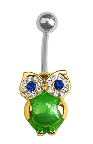 Green blue /& clear eye Owl bird gold plated Belly button navel Ring piercing bar body jewelry 14g