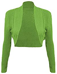 Thever Women Ladies Long Sleeve Knitted Shrug Cardigan Bolero Crop Top One Sz 6-12