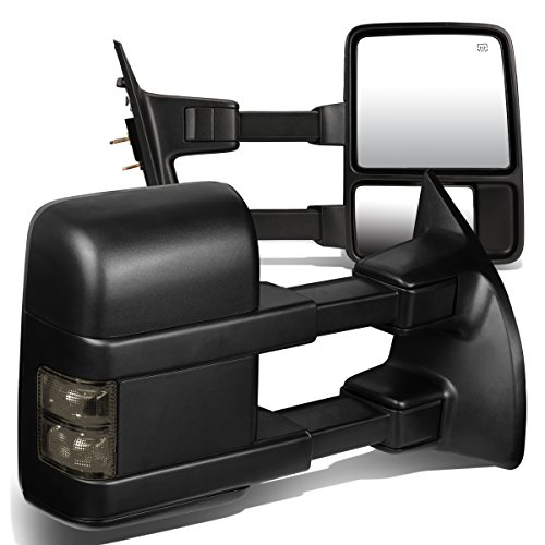 For Ford Super Duty Pair of Black Powered + Smoked Signal Glass + Manual Extenable Side Towing Mirrors