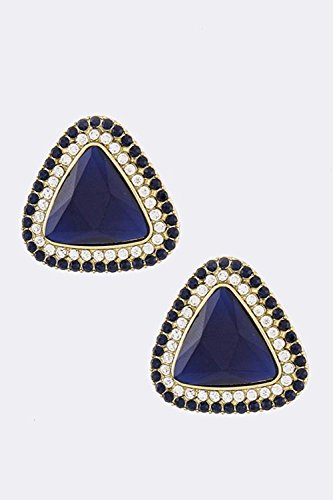 KARMAS CANVAS DOUBLE TRIM TRIANGLE CRYSTAL EARRINGS - Versace Wholesale