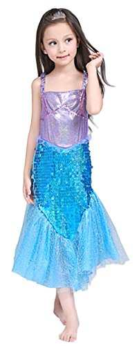 Cohaco Girl's Princess Mermaid Style Costume Party Dress with Tiara Clip (XX-Small)