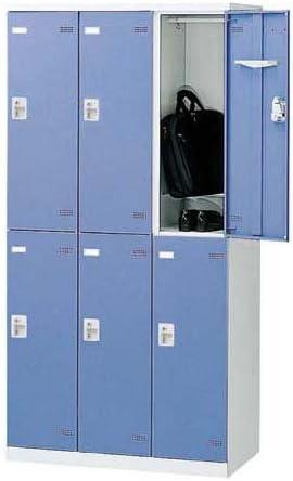 生興 SLBロッカー(扉ブルー) シリンダー錠 ロッカー 6人用 W900×D515×H1800 SLBB-6-S2