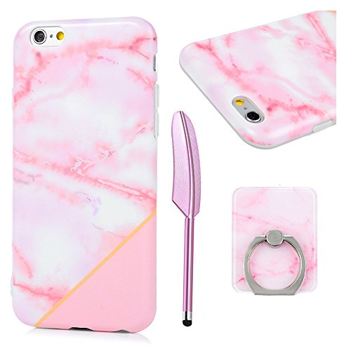 iPhone 6s Case, iPhone 6 Case, Pink Marbling Pattern Design Soft Fexible Gel Silicone TPU Bumper IMD Translucent Frame Slim Fit Shockproof Protective Cover for iPhone 6, iPhone 6s (4.7 inch)]()