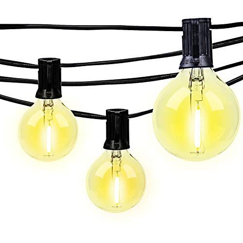 MRDENG Outdoor&Indoor LED Globe String Lights Dimmable - 24Ft Samll G40 Globe Bulbs, Edison Vintage Bulbs Hanging Sockets, Decorative for Bistro Pergola Deckyard Tents Market Cafe Gazebo Porch Letters