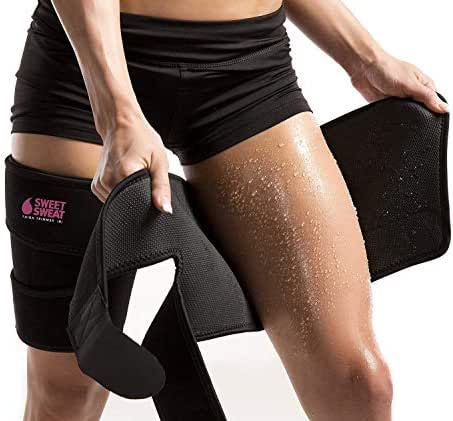 Sports Research Sweet Sweat Thigh Trimmers for Men & Women ~ Increases Heat and Sweat Production to The Thigh Area ~ Includes Mesh Carrying Bag