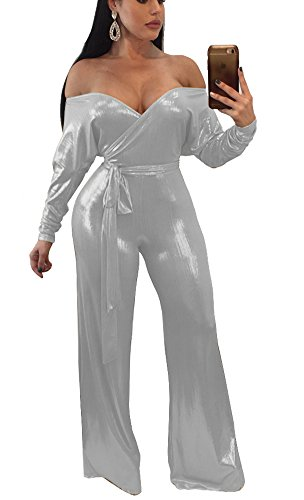 Playworld Womens Sexy Strapless Metallic Wide Leg Long Pants Club Jumpsuits Rompers: Amazon.co.uk: Clothing