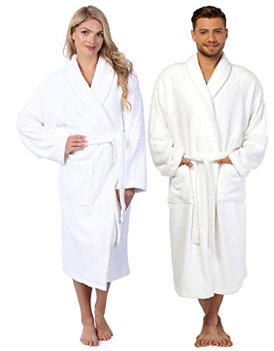 La La Spa Robe - HomeLabels Terry Bathrobe - One Size Fits All - Shawl Collar Ultra-Soft Spa Robe - Absorbent, Durable and Comfortable - White - Medium/Large