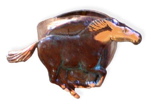 Elaine Coyne Olive Patina Brass Equestrian Wild Galloping Horse Ring (Galloping Horse Ring)