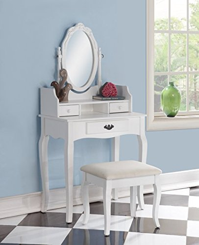 Wood Makeup Vanity Set with Mirror 3 Storage Drawers Adjustable Oval Wooden Frame Mirror Padded Upholstered Stool by AVA Furniture