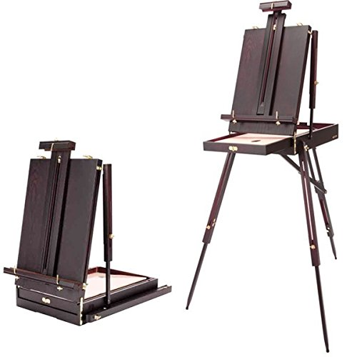 SoHo Urban Artist French Art Easel & Sketchbox Storage Drawer -30% Lighter Than Other EASELS Perfect for Plein Air Painting, Drawing & Sketching- Rich Mahogany Finish (Folds Down 21