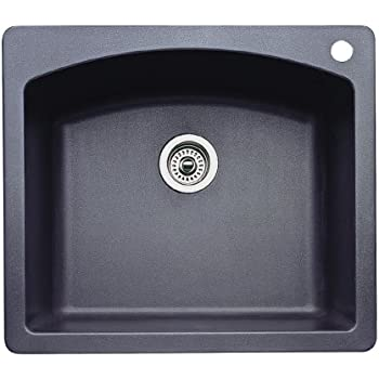 Blanco 440210 Diamond Single-Basin Drop-In or Undermount Granite Kitchen Sink, Anthracite