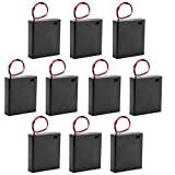 uxcell 10 Pcs 6V Battery Case Storage Box 4 x 1.5V AA Batteries Wired ON/OFF Switch w Cover