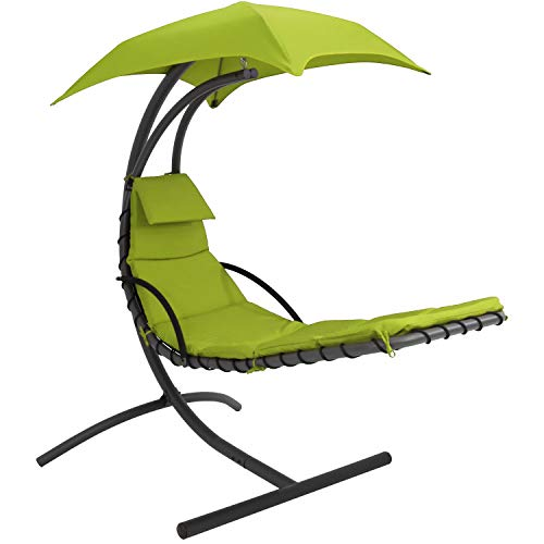 (Sunnydaze Floating Chaise Lounger Swing Chair with Canopy, 79 Inch Long, Apple Green, 260 Pound Capacity)