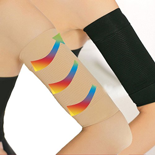 2 Pair Slimming Compression Arm Sleeve Shaper Support Wrap Calories Off/Massage Lose Fat Buster Shaperwear(Black&Nude)