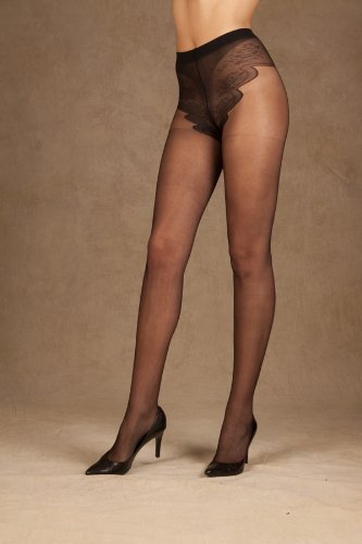 Elegant Moments Women's French Cut Support Pantyhose, Black, One Size